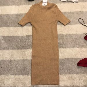 gold body con sweater dress